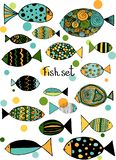 Illustration with fishes. Funny fish outline art royalty free illustration