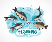 Illustration fly about fishing. Illustration about fishing in cartoon style, hungry fish attack to the a hook bait Stock Images