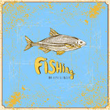 Illustration with fishing elements Royalty Free Stock Images