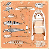 Illustration with fishing elements Stock Photography