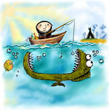 Illustration with fishing laplander. It can be used for card, postcard, banner, poster, print, sticker Stock Photos