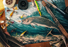 Illustration about fishing. Illustration about fishing, surrounded by fishing accessories (rod, reels, jigs). The attempt to make the atmosphere of the fishing Royalty Free Stock Photos