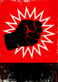 Illustration of fist. Red and black poster with fist Stock Images