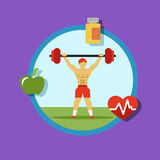 Illustration of Fitness Icons, sports and exercise Stock Photos