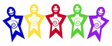 Illustration five colorful joyful men simple shapes that hold ha Royalty Free Stock Images