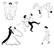 Illustration of five dance styles: Japanese dance, Royalty Free Stock Photo