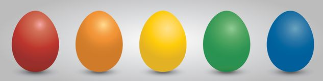 Easter eggs in five colors royalty free stock photography