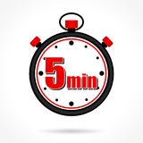 Five minutes stopwatch. Illustration of five minutes stopwatch on white background Stock Photos