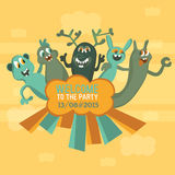 Illustration of five monsters. Stock Photo