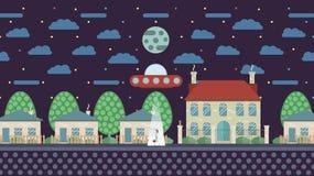Illustration in flachem Design UFO entführt einen Menschen Stockbilder