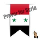 Illustration flag of hanging prayer for Syria Stock Photos