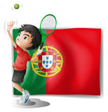 The flag of Portugal at the back of a tennis player Stock Photo