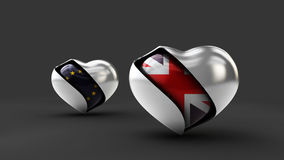 Illustration Flag of the UK and EU in the abstract heart Royalty Free Stock Photo
