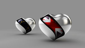 Illustration Flag of the UK and EU in the abstract heart Royalty Free Stock Photography