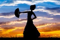 Flamenco girl dancers. Illustration of Flamenco girl dancers at sunset Royalty Free Stock Image