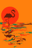 Illustration of flamingo at sunset or sunrise Royalty Free Stock Photography