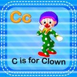 Flashcard letter C is for clown vector illustration