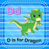 Flashcard letter D is for dragon Stock Image