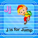 Flashcard letter J is for jump stock illustration