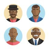 Illustration of flat design African American men icons collection. Vector Stock Photo