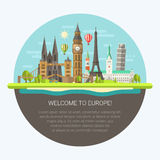 Illustration of flat design composition with Royalty Free Stock Photography