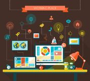 Illustration of flat design composition with work. Illustration of vector flat design composition with work place Stock Photos