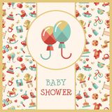 Illustration of flat design cute baby shower Stock Photo