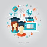 Illustration of flat design education composition Royalty Free Stock Photos