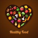 Illustration of flat design fruits and vegetables Stock Images