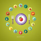 Illustration of flat design fruits and vegetables Royalty Free Stock Images