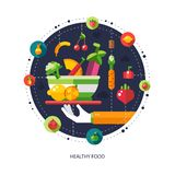 Illustration of flat design fruits and vegetables Stock Photos