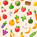 Illustration of flat design fruits and vegetables Royalty Free Stock Photo