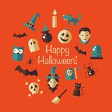 Illustration of flat design Halloween composition Royalty Free Stock Images