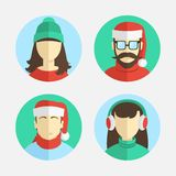 Illustration of flat design. men and women in winter hats Stock Photo