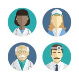 Illustration of flat design. people icons collection: doctor and nurse Stock Photos