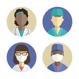 Illustration of flat design. people icons collection. Female surgeon doctor Stock Images