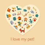 Illustration of flat design pets composition. Illustration of vector flat design pets composition Royalty Free Stock Images