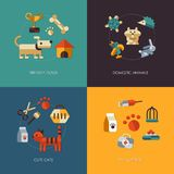 Illustration of flat design pets compositions. Illustration of vector flat design pets compositions Stock Photo