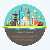 Illustration  of flat design postcard with famous. Illustration  of vector flat design postcard with famous world landmarks icons Royalty Free Stock Photo