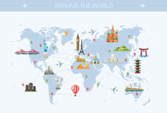 Illustration  of flat design postcard with famous Royalty Free Stock Photo