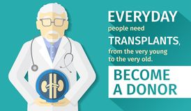 Illustration of flat design. poster transplantation organs. Become a donor. Stock Images