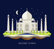 Illustration of flat design travel indian Royalty Free Stock Images