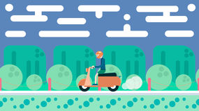 Illustration in flat design. Travel on scooter Royalty Free Stock Image