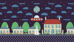 Illustration in flat design UFO abducts a human vector illustration