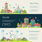 Illustration of flat design urban landscape Stock Images