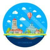 Illustration of flat design urban landscape Royalty Free Stock Image