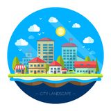 Illustration of flat design urban landscape Stock Photo