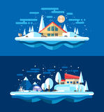 Illustration of flat design urban winter landscape Stock Photos