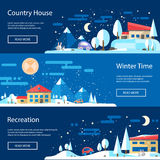 Illustration of flat design urban winter landscape Royalty Free Stock Image