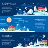 Illustration of flat design urban winter landscape Royalty Free Stock Image